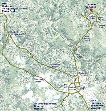 Map - Cathmar Cottages - Swaziland Accommodation - Self catering cottages Mbabane - Mbabane Accommodation
